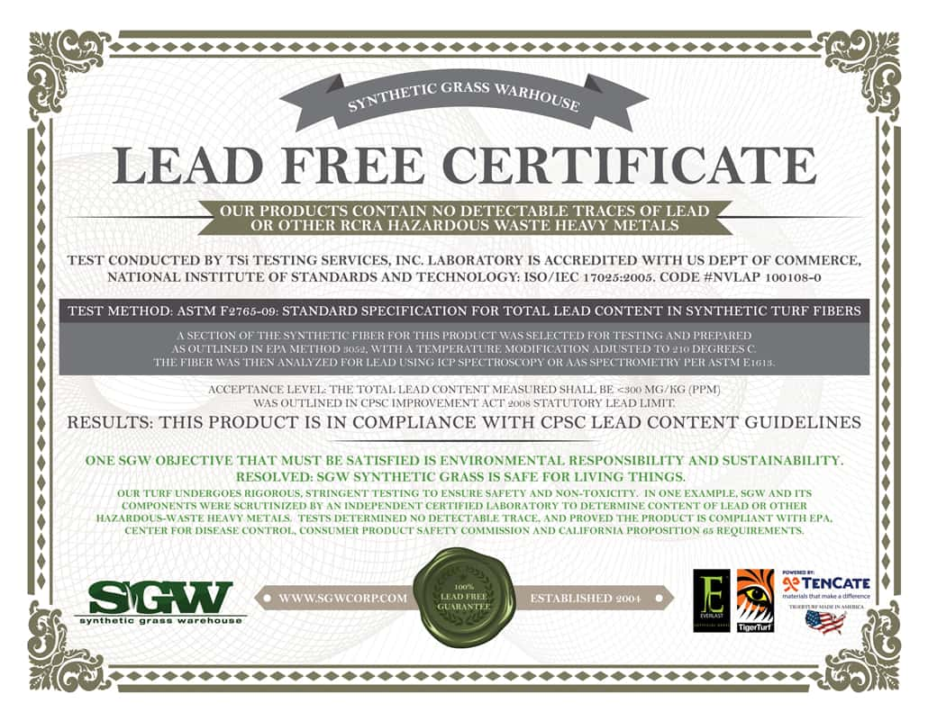 Lead Free Certification Synthetic Grass Warehouse