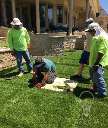 Installing Artificial Grass Between Pavers Sgw